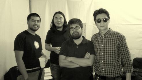 Backstage after the gig. From L-R: Jojo Gatmaitan, Kakoy Legaspi, Vengee Gatmaitan and Clementine