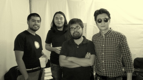 Backstage after the gig. From L-R: Jojo Gatmaitan, Kakoy Legaspi, Vengee Gatmaitan and Clementine