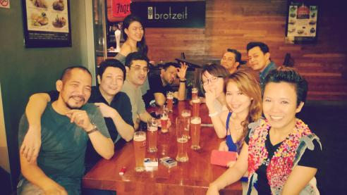 Filipino/Singaporean friends and German beer.